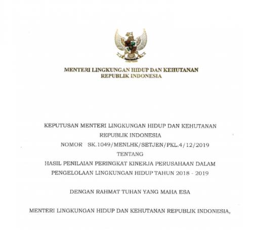 SK MENLHK NOMOR 1049 Tahun 2019 lengkap