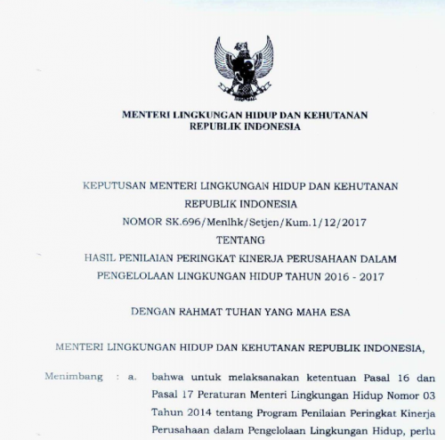 Keputusan Menteri LHK RI Nomor SK - 696 Tentang Ha