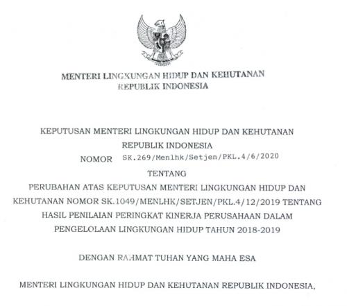 SK 269 MENLHK ADENDUM PERINGKAT PROPER 2018-2019